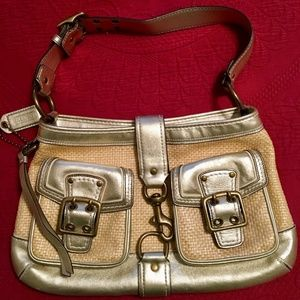 Coach Gold and Straw Leather Handbag